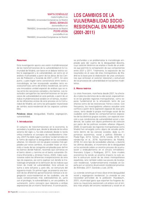 Los Cambios de la Vulnerabilidad Socio-Residencial en Madrid (2001-2011)