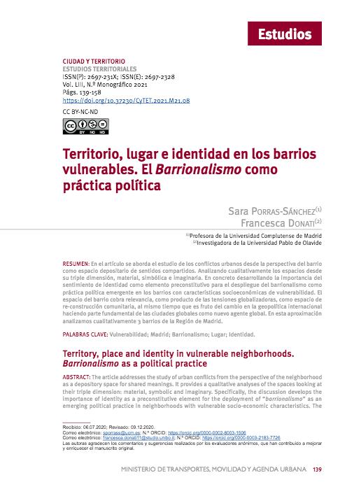 Territorio, lugar e identidad en los barrios vulnerables. El Barrionalismo como práctica política.