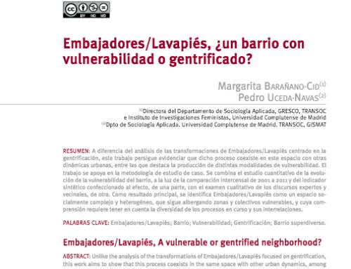 Embajadores/Lavapiés, ¿un barrio con vulnerabilidad o gentrificado?