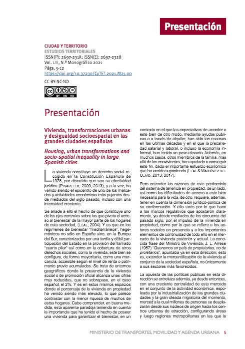 Vivienda, transformaciones urbanas y desigualdad socioespacial en las grandes ciudades españolas