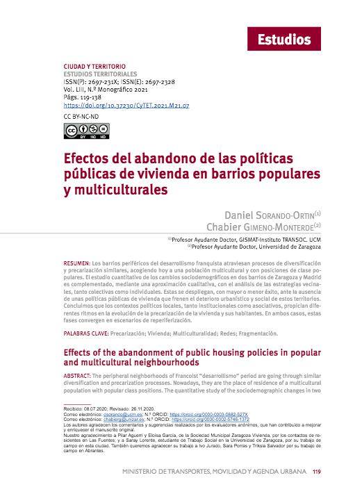 Efectos del abandono de las políticas públicas de vivienda en barrios populares y multiculturales