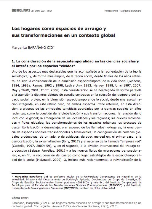 Los hogares como espacios de arraigo y sus transformaciones en un contexto global